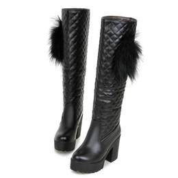 Talons à carreaux en Ligne-Taille 34-46 Femme À Carreaux Slip-on Mid Calf Bottes Femmes Plate-forme Plus La Taille Chaussures Lady Robe D'hiver Botte Femme Talons Hauts Chaussures