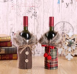 bottle coats Promo Codes - Christmas Wine Cover Coat Shape Red Wine Bottle Case Bags Xmas Table Decoration Home Party Decors