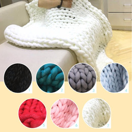 Wholesale Thick Winter Quilts - Newest 7 Color 120x150cm Ultra-thick Yarn Blanket Air-conditioner Quilt Sofa Blanket Hand Woven Large Carpet Winter warm