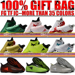 Wholesale Messi Football Boots - Cheap Sale Original Socks Football Boots High Ankle X 16 Purechaos FG Soccer Shoes Men Messi X 17 Pure Chaos Indoor IC TF Soccer Cleats Turf
