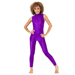 2019 zentai púrpura Ensnovo Womens Lycra Spandex trajes Zentai Zip delantero Body Backless Dancewear Purple Body Tight cosplay disfraces rebajas zentai púrpura