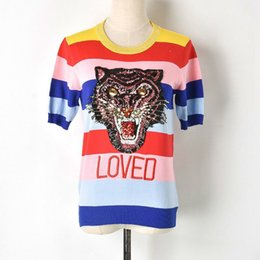 Wholesale rainbow t shirt women - 2018 New Summer Fashion T Shirts Striped Female Rainbow Sequins Tiger Letter Women's T-shirt Knitted Runway Designer Tops Jumper Plus size