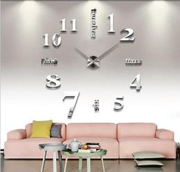 Artes do relógio on-line-Decorações da sala de estar quarto adesivos de parede Diy relógio personalizado Home Art 3D espelho relógio de parede mudo relógio