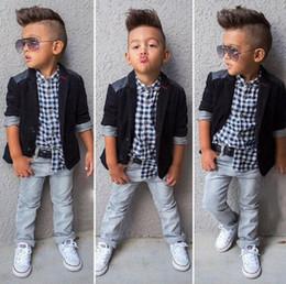435005828046 Ins Europe Fashion Baby Boys 3pcs Clothes Set Kids Plaid Shirt + Coat + Jeans  Children Outfits Clothing Suit W146 kids jeans set fashion on sale
