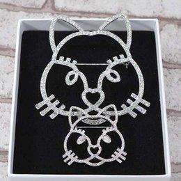 Wholesale Party Kitty - Fashion Trendy Men Women Luxury Brand Design Brooch AAA Rhinestone Kitty Cat Brooch Suit Lapel Pin Necklace Earrings for Men Women NL-531