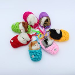 Wholesale Diy Cat Bag - Super Cute Simulation Sounding Shoe Kittens Cats Plush Toys Keychain Bag Pendant DIY Cartoon Animal Dolls Christmas Gift