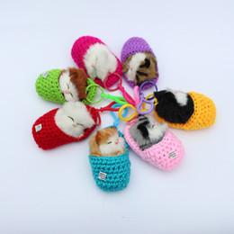 Wholesale Cat Plush Keychain - Super Cute Simulation Sounding Shoe Kittens Cats Plush Toys Keychain Bag Pendant DIY Cartoon Animal Dolls Christmas Gift