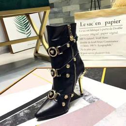 botas de aço azul Desconto Versaes marca nova chegada mulheres moda botas de luxo bllack couro genuíno medusa botão de design de alta qualidade das mulheres ankle boots