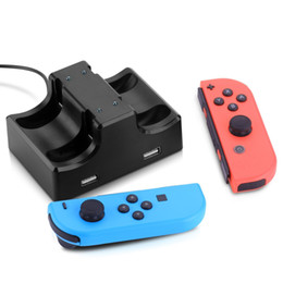 Wholesale led station - Iplay 4 In 1 Charging Dock Station LED Charger Cradle For Nintendo Switch 4 Joy-Con Controllers Nintend Switch NS Charging Stand 20pcs lot