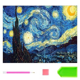 Wholesale diy oil paint numbers - 5D DIY Diamond Painting Kit for Adults,Full Square Drill Diamond Cross Stitch By Number Kits, Starry Night Paint with Diamonds for Hom