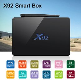 Wholesale Movie Streaming - X92 Smart TV Box Amlogic S912 Octa Core Android 7.1 TV Box 3GB 16GB 32GB Wifi Fully Loaded 4K Movies Streaming Player