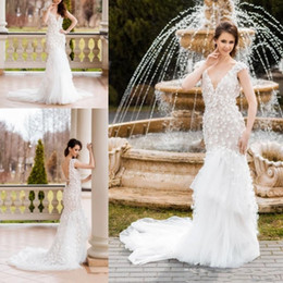 Wholesale Fairy Garden Flowers - 2018 Fairy V Neck Mermaid Wedding Dresses Sexy Backless Tulle Sweep Train Bridal Gowns Flower Applique Custom Made Bridal Gowns