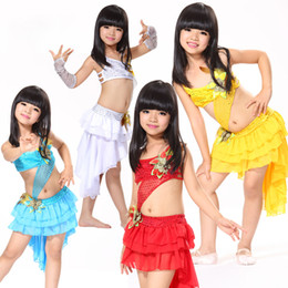 Wholesale Kids Dance Latin Skirt - High Quality dress zip 4 Colors Kids Costume 6-15 Years Mermaid Tail Tassel Skirt Backless Top with Sequin Arm Sleeves Latin Dance