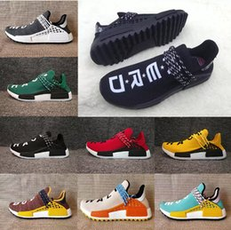 Wholesale Cheap Slips - Cheap Originals Men Women Human Race trail Running Shoes Pharrell Williams Runner Shoes Yellow noble ink core Black Red 36-47