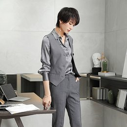 graue formale hose Rabatt Grau Zwei Stücke Formale Weibliche Blazer Uniform Designs Anzüge Hosen Westen Hosen Professionelle Bussiness Büro Dame Anzug
