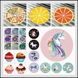 Wholesale outdoor picnic blanket - 42 Styles Unicorn Mandala Beach Towel Ice Cream Elephant Printed Round Picnic Mat Swimming Bath Towels Cartoon Outdoor Pads CCA9745 30pcs