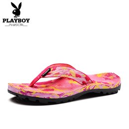 Wholesale Canvas Beach Shoes For Men - PLAYBOY Women's Flip Flops Ladies Beach Shoes Outside Slippers PVC Outsole Summer Sandals For Women Size:35-40 Rose 3 COLOR