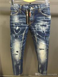Wholesale mens designer jeans 42 - 2018 Wholesale-Vintage Mens Ripped Jeans Pants Slim Fit Distressed Denim Joggers For Male Brand Designer Destroyed Jean Trousers Plus