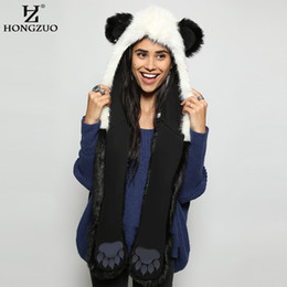 593435525116a HONGZUO 2017 Winter Fashion Warm Panda Animal Faux Fur Hat Scarf Mittens  Ears and Paws Cap Scarf Shawl Gloves Sets PC187