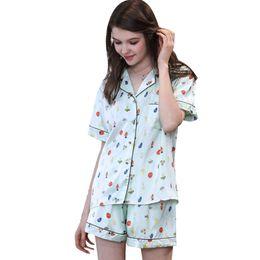 Schlafkragen online-Sommer Pyjama Sets Womens Schlaf Casual Silk Pyjamas New Short Print Umlegekragen Shorts Zweiteiler Trainingsanzug Pyjama Sets