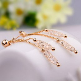 Wholesale Champagne Crystal Jewelry - BAMOER Luxury Champagne Gold Color Drop Earrings Wire Zircon Crystal Female Valentine's Day Gift Jewelry JSE020