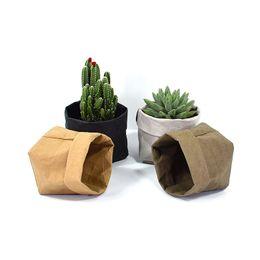 Wholesale Media Desktop - Foldable Pots Kraft Paper Flowerpot Waterproof 4 colors Environmental Protection Planters storage bag Mini Garden Vegetable pouch YYA1003