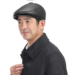 Wholesale News Caps - Svadilfari news 2017 Real Promotion Solid Adult Wholesale-black Newsboy Cap Leather Duckbill Cowhide Autumn Winter Hat For man
