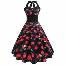 Hombro vestido de cóctel de estilo online-Nuevo estilo de vestir de las mujeres de la vendimia impreso vaina sin mangas del hombro cuello halter Casual vestidos de fiesta de cóctel venta caliente