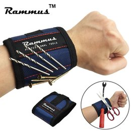 Wholesale Magnet Bands - Strong Magnet Magnetic Wristband Tool Bag Electrician Wrist Bands Screws Nails Drill Bit Holder Storage Repair Roll Hand Bag