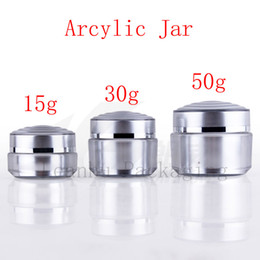 Wholesale Empty Acrylic Jars - 15g 30g 50g empty acrylic cosmetic cream bottle , silver acrylic cosmetic jars , plastic containers for cosmetics packaging