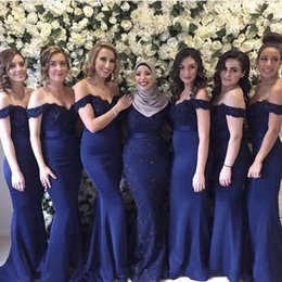 Wholesale Elastic Satin Dress Junior Bridesmaid - 2018 Best Cheap Lace Bridesmaid Dresses Off The Shoulder With Sequin Beads Mermaid Party Prom Gowns For Junior Maid Of Honor Dress BA6662