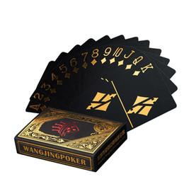 Wholesale Plastic Joker - Waterproof Plastic Poker Black PVC Playing Cards Set Gold Silver Foil Poker Deck Game Card Classic Magic Tricks Tool Joker 30