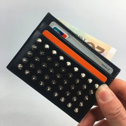 Wholesale Plain Rock - Black Genuine Leather Credit Card Holder Wallet Classic Rivet Designer ID Card Case Coin Purse 2018 New Arrivals Fashion CL Slim Pocket Bag