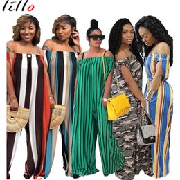 striped jumpsuits Coupons - women Loose stripe collar collar jumpsuit One-shoulder shoulder wide jumpsuit Spot 2018 summer and autumn popular design leisure