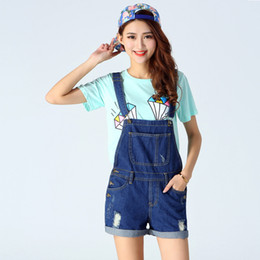 Wholesale overalls for ladies - 2018 New Fashion Spring Denim Shorts Ladies Blue Vintage Loose Solid Hole Ripped Jean Short Female Above Knee Overalls For Girl