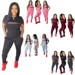Wholesale kids tracksuits wholesalers - 4colors 2 piece set summer Women tracksuit Set short sleeve T-shirt+ pants leggings love pink Outfits kids sportswears tracksuit GGA558