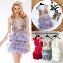 Wholesale Fiesta Sale - Hot Sale Feather Lace Short Prom Dresses Sheer Plunging Neck Beaded Party Evening Gowns Vestidos De Fiesta Appliqued Cocktail Dress