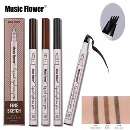 Wholesale powder eyebrow makeup - Music Flower Liquid Eyebrow Pen Eyebrow pencil powder 3 Colors Eyebrow Enhancer High quality Brand Makeup Waterprooffree DHL shipping Newest