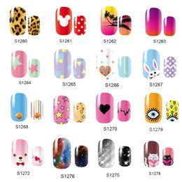2019 гвозди новый стиль милый NEW Cute 14 Tips Self Adhensive Nail Wraps Full Cover Foil Galaxy Nail Tips Mixed Styles Sticker Decals дешево гвозди новый стиль милый