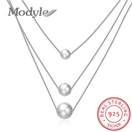 Wholesale three pearl pendant - whole saleModyle 100% 925 Sterling Silver Three Layers Pearl Pendant Necklace Women Fashion Fine Jewelry