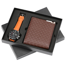 Кожаные подарочные наборы для мужчин онлайн-Quartz Wrist Watch Men + Leather Wallet Gift Box Set Casual Business Men's Watches Wallets With Coins Bag Best Gifts For Male