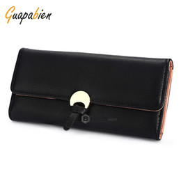 Wholesale Korean Fashion Dresses For Women - Guapabien Stylish PU Leather Snap Fastener Simple Card Holder Clutch Wallet for Women Black