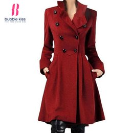 Wholesale Skirted Trench - Red Coats Vintage Double Breasted Long Women Overcoat For Women New Fashion Autumn Winter Solid Color Trench Coat Bubblekiss