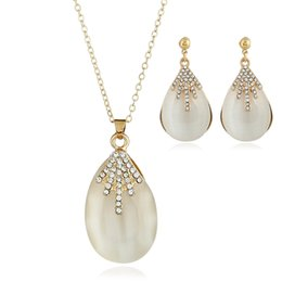 Wholesale Cheap Fashion Necklaces For Women - Drop Shape Topaz Jewelry Set Cheap Fashion Earring And Necklace Set For Women Dangle And Pendant Set For New Year
