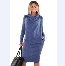 06274406b6e Женщины платья твердые большие размеры элегантный женский с длинным рукавом  зима осень повседневная карман плюс размер 5xl 6xl vestidos