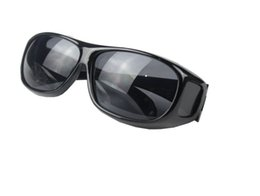 Wholesale Hd Vision Night Driving Glasses - 150pcs HD Night Vision Driving Sunglasses Men Yellow Lens Over Wrap Around Glasses Outdoor Cycling Dark Driving UV400 Protective Goggles