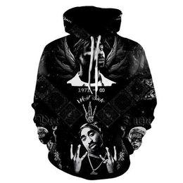 Tupac sweatshirts online-2017 neue art und weise Kühlen sweatshirt Hoodies Männer frauen 3D druck 2PAC Rap Tupac Hip Hop schwarz T heißer Stil Streetwear langarm