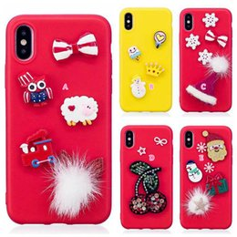 Wholesale 3d Christmas Iphone Case - 3D Christmas Gift Soft Silicone Case For iphone X 8 7 Plus 6 6S SE 5 5S Bling Diamond Glitter Santa Claus Hat Tree Snow Sheep Gel Cover Skin