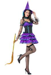 Взрослые женщины фиолетовый ведьмы костюмы для Хэллоуина косплей партия необычные платья сексуальная от