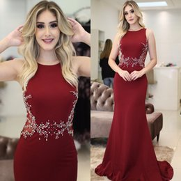 Wholesale Popular Teas - Hot 2018 Burgundy Mermaid Evening Dresses Popular Sleeveless Jewel Neck Beaded Appliques Long Arabic Evening Robe de soriee Prom Gowns